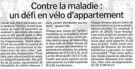 Article Manche Libre Jean Mace Telethon